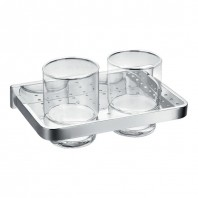 Flova Sofija Double Glass Tumbler with Chrome Holder