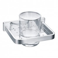 Flova Sofija Single Glass Tumbler with Chrome Holder