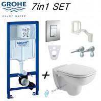Grohe Rapid Sl Wc Frame & Duravit D-Code Wall Hung Toilet Pan With Soft Close Seat