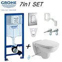 Grohe Rapid Sl Wc Frame & Duravit D-Code Compact Wall Hung Toilet Pan With Soft Close Seat 48cm