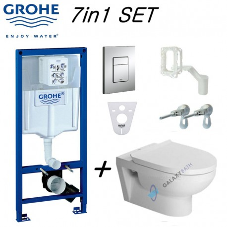 Grohe Rapid Sl Wc Frame & Duravit Durastyle Basic Rimless Wall Hung Toilet Pan With Soft Close Seat Pack