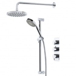 Tavistock Kinetic Triple Inline Thermostatic Shower Valve With Round Shower Head And Handset Chrome