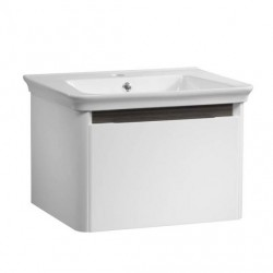 Tavistock Equate 1-Drawer Wall Mounted Vanity Unit With Basin - 600mm  - Gloss White/Grey Oak