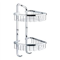 Flova Solid Brass Double Basket with Hooks