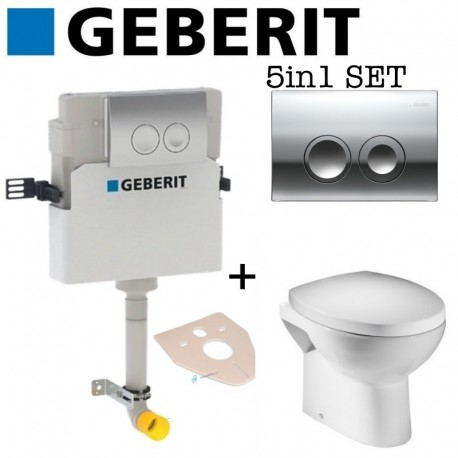 Geberit Delta 21 Concealed Toilet Cistern + Tavistock Rio Back To Wall Toilet Pan With Soft Close Seat 2in1 Set