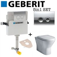 Geberit Delta 21 Concealed Toilet Cistern + Essential Ivy Rimless Back to Wall WC Toilet Pan With Soft Close Seat Pack 5in1 Set