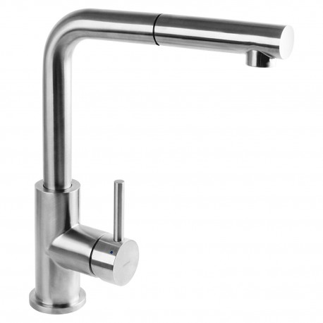 Omnires Inox Kitchen Sink Modern Tap Single Lever Pull Out Spray