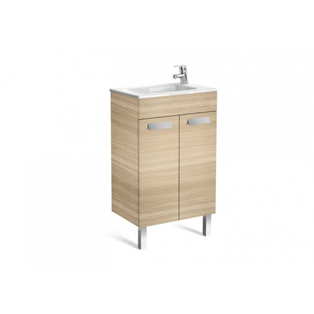 Roca Debba Compact Unit And Basin 500mm 2 Door -  Textured Oak