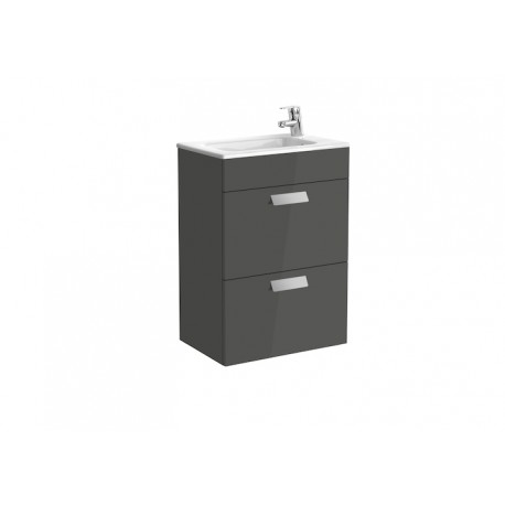 Roca Debba Compact Unit And Basin 500mm 2 Drawer - Gloss Anthracite Grey