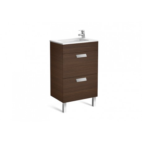 Roca Debba Compact Unit And Basin 500mm 2 Drawer - Textured Wenge