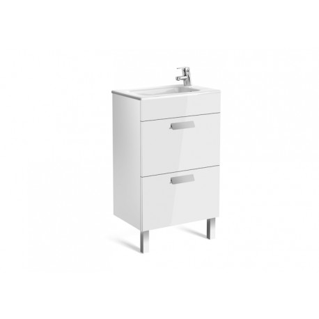 Roca Debba Compact Unit And Basin 500mm 2 Drawer - Gloss White
