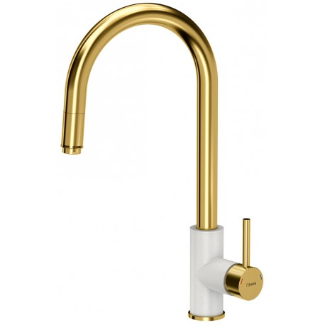Quadron Jennifer Pull Out Tall  Kitchen Sink Mixer Tap Gold White Finish