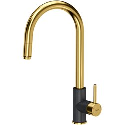 Quadron Jennifer Pull Out Tall  Kitchen Sink Mixer Tap Gold Black Finish