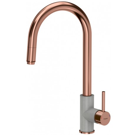 Quadron Jennifer Pull Out Tall  Kitchen Sink Mixer Tap Copper Grey Finish