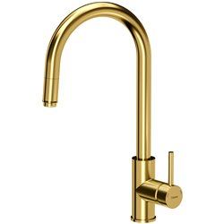 Quadron Jennifer Pull Out Tall  Kitchen Sink Mixer Tap Gold Finish