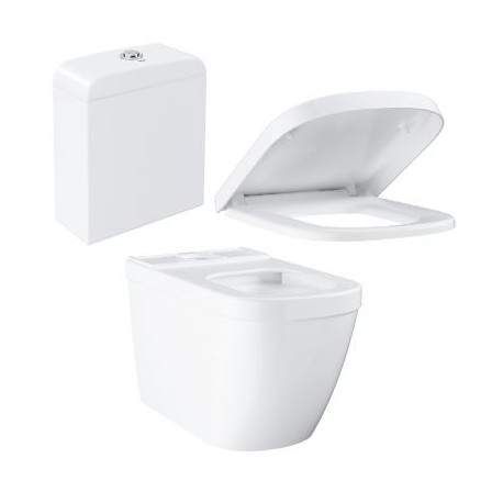 Grohe Euro Ceramic Rimless Close Coupled Toilet with Soft-Close Seat