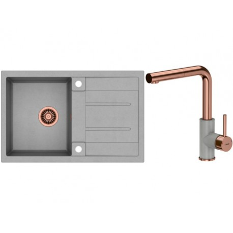 Quadron Morgan 111 GraniteQ Kitchen Sink With Angelina Pull Out Tall Mixer Tap 2in1 Set Grey/Copper Finish