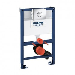 Grohe RAPID-SL 3-in-1 Toilet Frame 6/9 Litre 3 Mode Cistern 820mm High Frame with Nova Flush Plate Blue/White