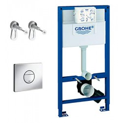 Grohe RAPID-SL 3-in-1 Toilet Frame 6/9 Litre 3 Mode Cistern 1000mm High Frame with Nova Flush Plate Blue/White