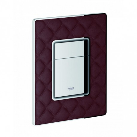 Grohe SKATE COSMOPOLITAN WC Wall Plate Dual Flush Brown Quilted Leather
