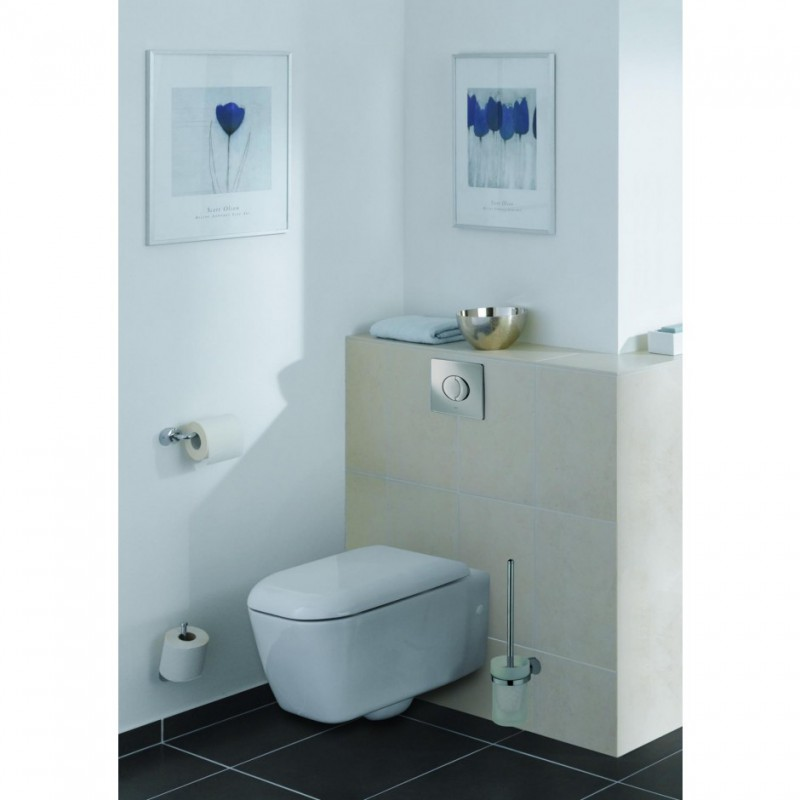 Square Toilet Cistern Push Button Dual Air Pneumatic Flush Chrome Bathroom