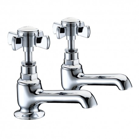 JTP Nelson Deck Mounted Basin Taps Pair - Chrome