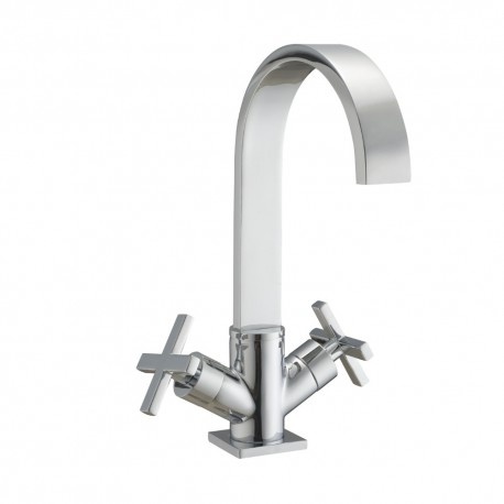 JTP Detail Mono Basin Mixer Tap with Click Clack Waste Dual Handle - Chrome