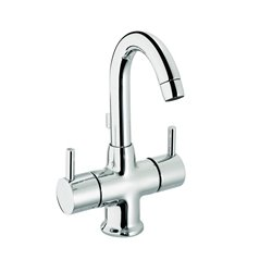JTP Florentine Fixed Spout Mono Basin Mixer Tap with Pop-Up Waste Dual Handle - Chrome