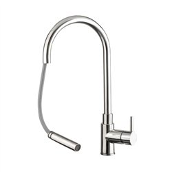 JTP Zecca Kitchen Sink Mixer Tap with Pullout Spout Single Handle - Stainless Steel