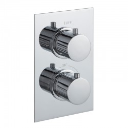 JTP Round Thermostatic Concealed 2 Outlets Shower Valve Dual Handle - Chrome