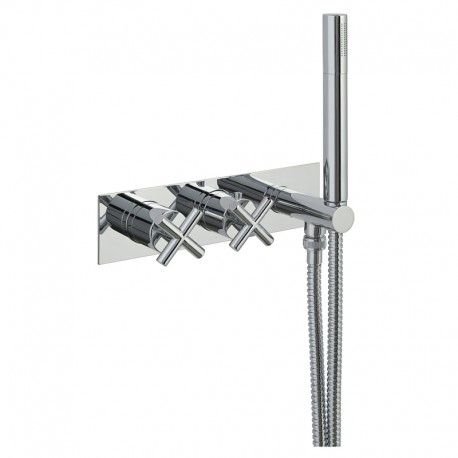 JTP Solex Thermostatic Concealed 2 Outlets Shower Valve with Attached Handset - Chrome