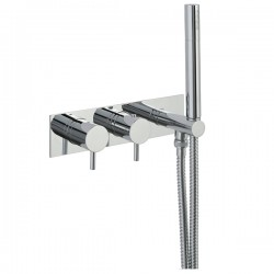 JTP Florence Thermostatic Concealed 2 Outlet Shower Valve with Handset - Chrome