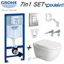 Grohe Rapid Sl + Duravit Starck 3 Wall Hung Rimless Toilet Pan With Soft Close Seat 7in1 Set