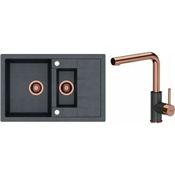 Quadron Morgan 156 1.5 Bowl Kitchen Sink + Angelina Pull Out Kitchen Mixer Tap Copper Black Set