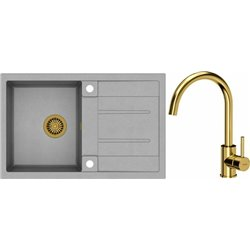 Quadron Morgan 111 1.0 Bowl Granite Kitchen Sink + Ingrid Single Lever Kitchen Mixer Tap Grey Gold Set