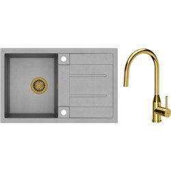 Quadron Morgan 111 1.0 Bowl Granite Kitchen Sink + Audrey Pull Out Kitchen Mixer Tap Grey Gold Set