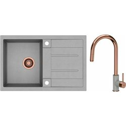 Quadron Morgan 111 1.0 Bowl Granite Kitchen Sink + Jennifer Pull Out Kitchen Mixer Tap Grey Copper Set