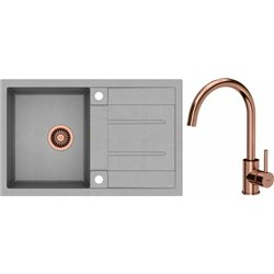 Quadron Morgan 111 1.0 Bowl Granite Kitchen Sink + Ingrid Single Lever Kitchen Mixer Tap Grey Copper Set