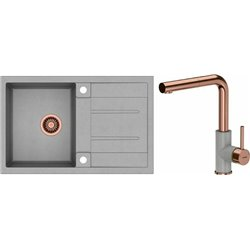 Quadron Morgan 111 1.0 Bowl Granite Kitchen Sink + Angelina Pull Out Kitchen Mixer Tap Grey Copper Set