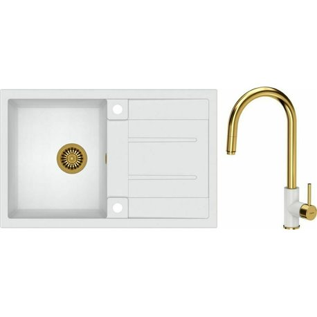 Quadron Morgan 111 1.0 Bowl Granite Kitchen Sink + Jennifer Pull Out Kitchen Mixer Tap White Gold Set