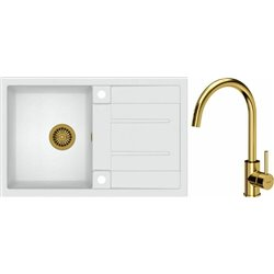 Quadron Morgan 111 1.0 Bowl Granite Kitchen Sink + Ingrid Single Lever Kitchen Mixer Tap White Gold Set