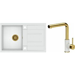 Quadron Morgan 111 1.0 Bowl Granite Kitchen Sink + Angelina Pull Out Kitchen Mixer Tap White Gold Set
