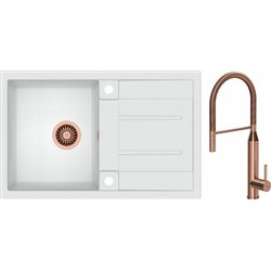 Quadron Morgan 111 1.0 Bowl Granite Kitchen Sink + Marylin Pull Out Kitchen Mixer Tap White Copper Set