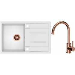 Quadron Morgan 111 1.0 Bowl Granite Kitchen Sink + Ingrid Single Lever Kitchen Mixer Tap White Copper Set