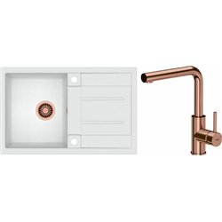 Quadron Morgan 111 1.0 Bowl Granite Kitchen Sink + Angelina Pull Out Kitchen Mixer Tap White Copper Set