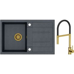 Quadron Morgan 111 1.0 Bowl Granite Kitchen Sink + Scarlett Pull Out Kitchen Mixer Tap Black Gold Set