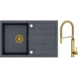 Quadron Morgan 111 1.0 Bowl Granite Kitchen Sink + Marylin Pull Out Kitchen Mixer Tap Black Gold Set