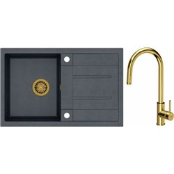 Quadron Morgan 111 1.0 Bowl Granite Kitchen Sink + Jennifer Pull Out Kitchen Mixer Tap Black Gold Set