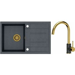 Quadron Morgan 111 1.0 Bowl Granite Kitchen Sink + Ingrid Single Lever Kitchen Mixer Tap Black Gold Set