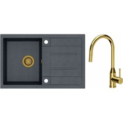 Quadron Morgan 111 1.0 Bowl Granite Kitchen Sink + Audrey Pull Out Kitchen Mixer Tap Black Gold Set